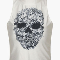 White Floral Skull Print Cropped Top