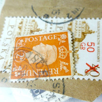 20 Vintage Stamps from Around the World, Mixed NO Repeats, Colorful Stamps for Scrapbooking or Mixed Media Art Projects