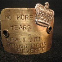 No more tears queen mary quote womens jewelry cuff bracelet