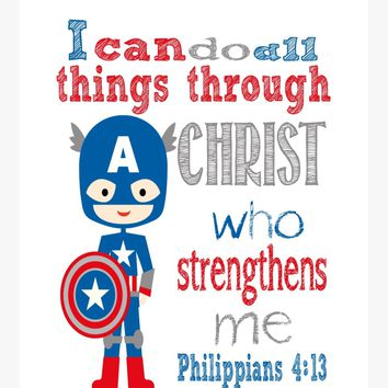 Captain America Superhero Nursery Print - I Can Do All Things Through Christ Who Strengthens Me - Philippians 4:13