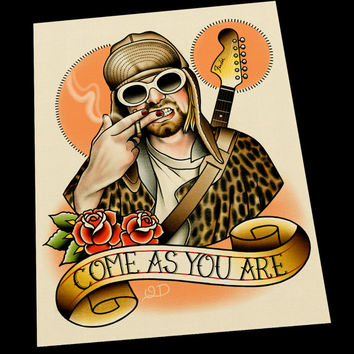 Kurt Cobain Tattoo Flash Art Print