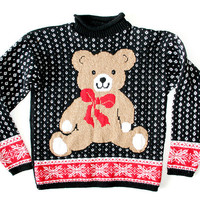 Vintage 80s Teddy Bear Tacky Ugly Christmas Sweater Women's Size Small/Medium (S/M)