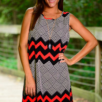 Trick Play Dress, Red/Black