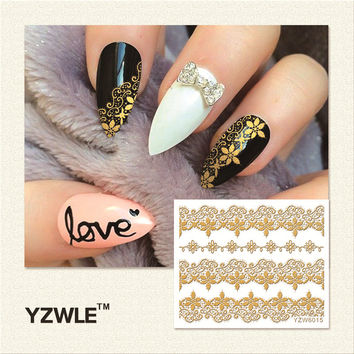 Hot Gold 3D Nail Art Decal Stickers