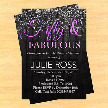 Fifty and fabulous invitations, fifty and fabulous, confetti invitation, thirty and thirsty, 30th invites, Art Party Invitation