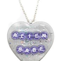 Alien Babe Heart Pendant Necklace