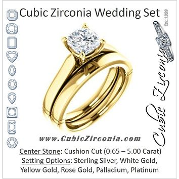CZ Wedding Set, featuring The Kaela engagement ring (Customizable Cushion Cut Solitaire with Stackable Band)