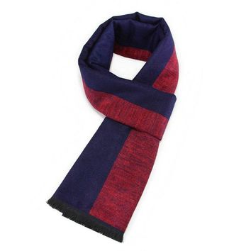 Men Scarf Winter Luxury Brand Striped Cashmere Scarf Winter Warm Male Head Bandana Thicked Scarves Christmas Gift Shawl