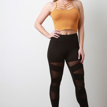 High Rise Diagonal Mesh Panel Leggings