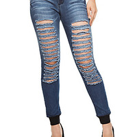Soft Denim Caged Rip Skinny Jeans With Ribbed Ankles