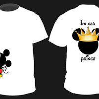 "Personalized ""Prince and Princess"" Mickey AND Minnie Cute Couples Matching Shirts Small-2XL"