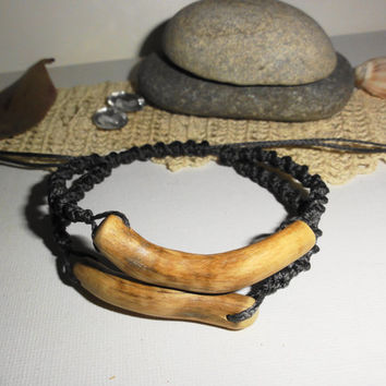 Bracelet for men, Natural bracelet, Rustic ornament, Wood and macrame, Wood bracelet, Gift jewelry, Statement jewelry, Handmade unique gift
