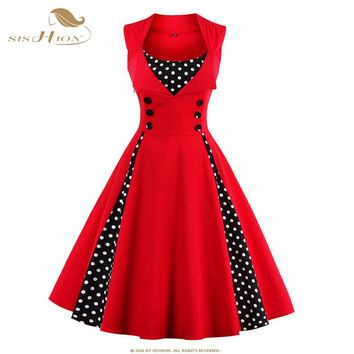 SISHION 2017 New 50s 60s Retro Vintage Dress Audrey Hepburn Sleeveless Spring Summer Patchwork Plus Size Red Women Dress VD0424