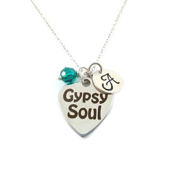 Gypsy Soul - Hippie Charm - Personalized Sterling Silver Necklace