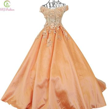 Evening Dress High-grade Luxury Satin Lace Flower A-line Floor-length Bride Party Gown Prom Dresses