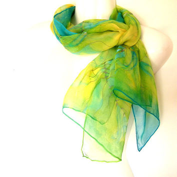 Silk Scarf Hand Painted Peacock Feathers Bright Yellow Lime Green Turquoise