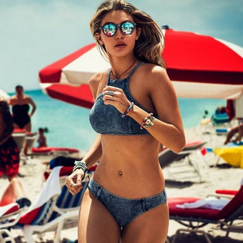 Sexy Swimsuit Beach Summer New Arrival Hot Women's Fashion Swimwear Set Denim Bikini [4970284164]