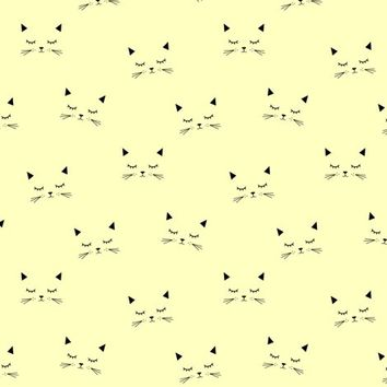 Cats Yellow (small) fabric - kimsa - Spoonflower