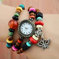 Beaded Wrap Watch with Butterfly Pendant by jimmywei on Zibbet