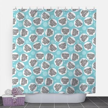 Turquoise Elephant Shower Curtain - Adorable Elephant Pattern over Turquoise - 71x74 - PVC liner optional - Made to Order