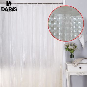 Plastic 3d Waterproof Shower Curtain Transparent White Clear Bathroom Curtain With 12pcs Hooks
