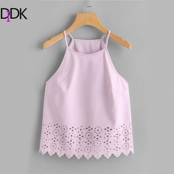 DIDK Purple Scalloped Laser Cut Plain Cami Vests 2017 Summer Hollow Halter Casual Tops Sexy Basic Wear Vests For Women