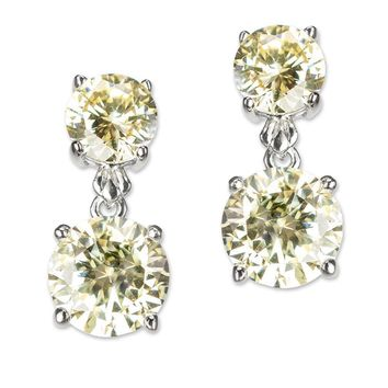 CZ by Kenneth Jay Lane - Canary Yellow Double Round Drop Earring