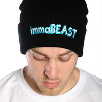 Black immaBEAST Streetwear Beanie Cap at Threader® Streetwear, Hip Hop Clothing, and Urban Clothing
