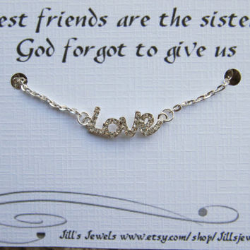Frienship Small Love Anklet and Friendship Inspirational Quote Card- Bridesmaids Gift - Friends Forever - Quote Gift