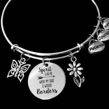 Patience Courage Tranquility Spirit Expandable Charm Bracelet Silver Adjustable Wire Bangle One Size Fits All Gift Spirit Lead Me Where My Trust Is Without Borders
