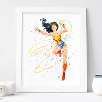 Wonder woman poster Watercolor superhero print Justice League Watercolor Art Print Nursery Wall decor, Watercolor nursery, Superhero Poster
