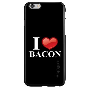 DistinctInk® Spigen ThinFit Case for Apple iPhone or Samsung Galaxy - Black White Red I Heart Bacon