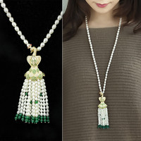 Pearls 925 Silver Stylish Chain Accessory Sweater [4914840004]