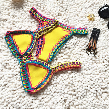 Campsnail Handmade Crochet Bikini Set Fashion  Female Bathing Suit Swimwear Women Neoprene Swimsuit Maillot De Bain Biquini