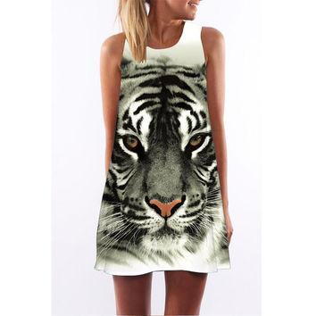 White Tiger Print Sleeveless Mini Dress