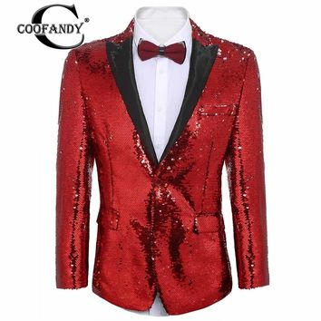 COOFANDY New Arrivals Shirts for Men  Patchwork Slim Fit One Button Party Wedding Blazer