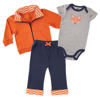 Yoga Sprout Bodysuit, Pants, and Track Jacket Set | Affordable Infant Clothing