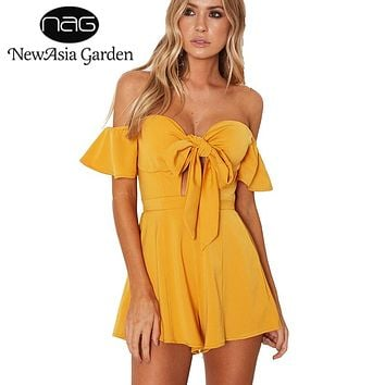 NewAsia Garden Off Shoulder Flare Sleeve Bow Tie Front Bustier Padded Women Playsuit Casual Strapless Rompers Jumpsuit New 2017