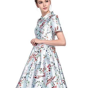 Womens Vintage 1950s Floral Print Short Sleeve Swing Cocktail Shirt Dress