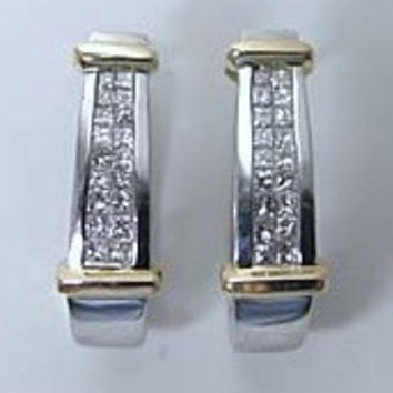 1.02ct Princess Cut Diamond Hoop Earrings 14kt White and Yellow gold JEWELFORME BLUE