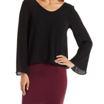 Strappy Bell Sleeve Top by Charlotte Russe
