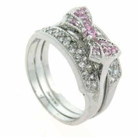 Stackable Pink CZ Bow Simulated Diamond Silver RingS10