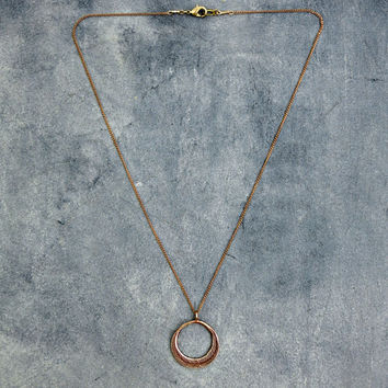 Feather Circle Necklace, Boho Jewelry, Delicate Necklace, Bronze Pendant, Layering Necklace, Tribal Necklace, Feather Pendant,
