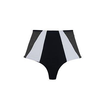 Harper Reversible Color Block Mesh High Waist Bikini Bottom - Black/Black & White