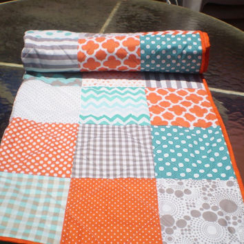 Modern Baby quilt-baby girl quilt, baby boy bedding,patchwork crib quilt,teal,orange,grey,aqua,turquoise,chevrons,toddler,Fire,Sea and Mist