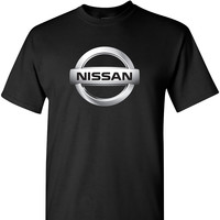 Nissan Chrome Logo on a Black T Shirt