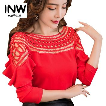 2018 New Chiffon Blouses Shirts Women Spring Ruffle Long Sleeve Ladies Tops Hollow Out Lace Patchwork Blusas Femininas