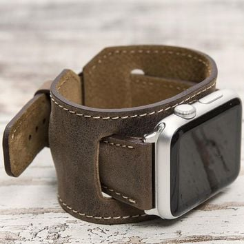 Leather Apple Watch Cuff, Antic Brown