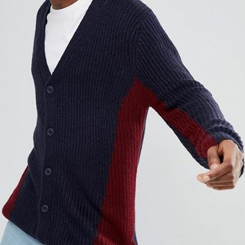 ASOS Knitted Cardigan With Colour Block Design In Navy at asos.com