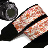 Floral Camera Strap. Orange Pink Peach Camera Strap. Dslr Camera Strap. Accessories